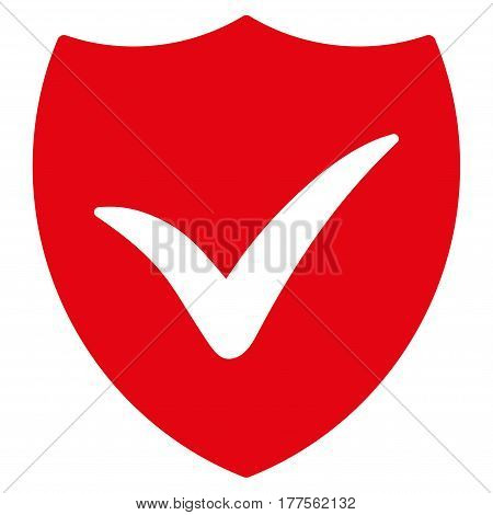 Shield Valid vector icon. Flat red symbol. Pictogram is isolated on a white background. Designed for web and software interfaces.