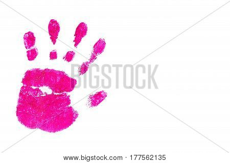 Colorful pink handprint handpainted by children isolated on a white background