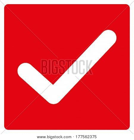Valid Tick vector icon. Flat red symbol. Pictogram is isolated on a white background. Designed for web and software interfaces.