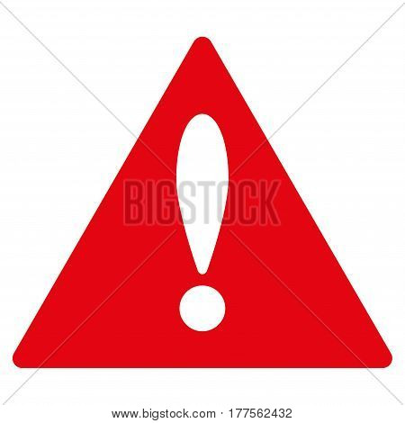 Warning vector icon. Flat red symbol. Pictogram is isolated on a white background. Designed for web and software interfaces.