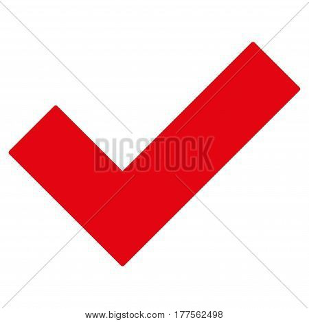 Yes Tick vector icon. Flat red symbol. Pictogram is isolated on a white background. Designed for web and software interfaces.