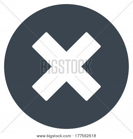 Cancel vector icon. Flat smooth blue symbol. Pictogram is isolated on a white background. Designed for web and software interfaces.