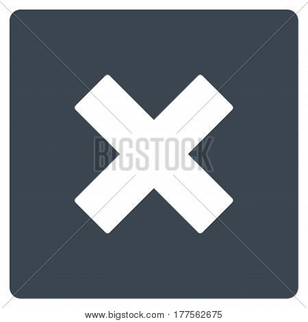 Close vector icon. Flat smooth blue symbol. Pictogram is isolated on a white background. Designed for web and software interfaces.