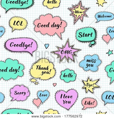 Hand drawn set of speech bubbles with dialog words: Hi Love Sorry Welcome Bye. Vector seamless pattern. Endless abstract background