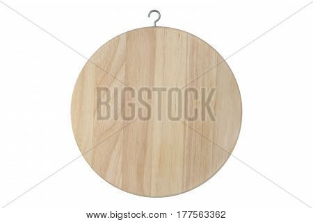 Round wooden cutting board isolated on white with clipping path