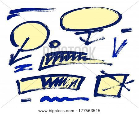 Set of hand drawn grunge design elements frames speech bubbles boxes and brush strokes. Vector illustration