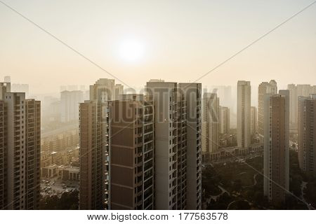 city skyline with residential district in China.