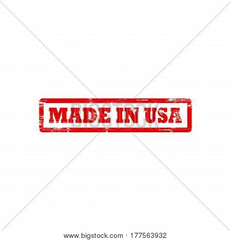 MADE IN USA grunge stamp sign vector red. Color is easily changed.
