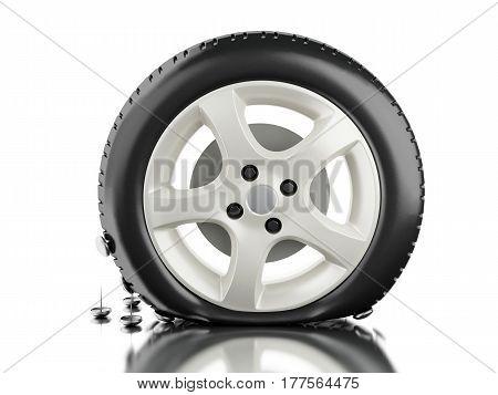 3D Close Up Of Flat Tire.