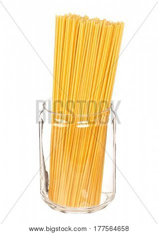 Spaghetti in glass pot isolated on white background
