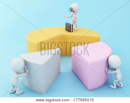 3D White People Building A Business Chart.