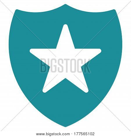 Guard Shield vector icon. Flat soft blue symbol. Pictogram is isolated on a white background. Designed for web and software interfaces.