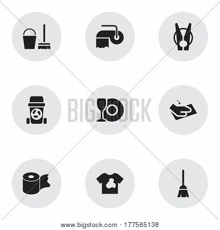 Set Of 9 Editable Cleaning Icons. Includes Symbols Such As Cleaning Kit, Toilet Paper, Hygienic Roll And More. Can Be Used For Web, Mobile, UI And Infographic Design.
