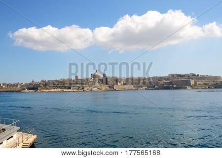 The view on Valletta in Sliema Malta