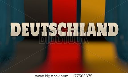 Germany flag design concept. Flag made from curved stripes. Country name by german language. Image relative to travel and politic themes. 3D rendering
