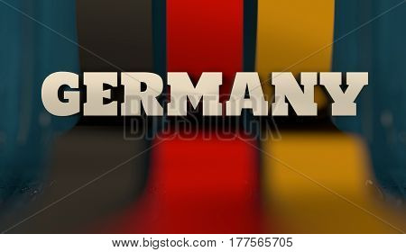 Germany flag design concept. Flag made from curved stripes. Country name. Image relative to travel and politic themes. 3D rendering