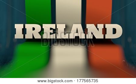 Ireland flag design concept. Flag made from curved stripes. Country name. Image relative to travel and politic themes. 3D rendering