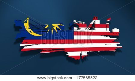 Energy and Power icons set and grunge brush stroke. Coal mining relative image. 3D rendering. Flag of the Malaysia