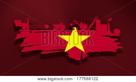 Energy and Power icons set and grunge brush stroke. Coal mining relative image. 3D rendering. Flag of the Vietnam