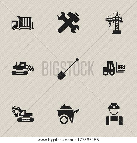 Set Of 9 Editable Construction Icons. Includes Symbols Such As Elevator, Employee, Excavation Machine And More. Can Be Used For Web, Mobile, UI And Infographic Design.