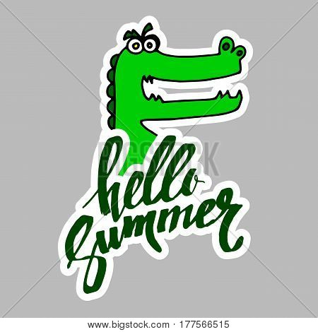 summer, calligraphy, crocodile, funny animal, hand, graphic, illustration