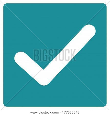 Valid Tick vector icon. Flat soft blue symbol. Pictogram is isolated on a white background. Designed for web and software interfaces.