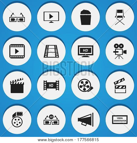 Set Of 16 Editable Movie Icons. Includes Symbols Such As Reel, Clapper, Movie Player And More. Can Be Used For Web, Mobile, UI And Infographic Design.