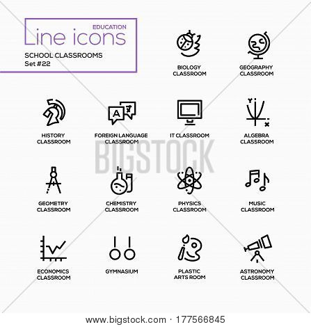 School Classrooms - modern vector single line icons set. Biology, ladybug, classroom, geography, globe, foreign language, IT, algebra, geometry, chemistry, physics, music, economics, chart, gymnasium, astronomy.
