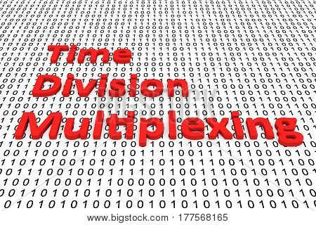 Time Division Multiplexing in the form of binary code, 3D illustration