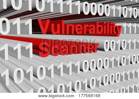 Vulnerability scanner in the form of binary code, 3D illustration