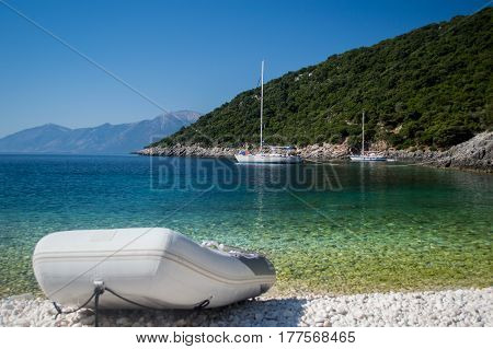 View of very tranquil anchorage at Ithaca island in Ionian sea