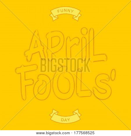 Funny April Fools Day. One-color inscription with shadow and stamping effect. Vector brush style lettering