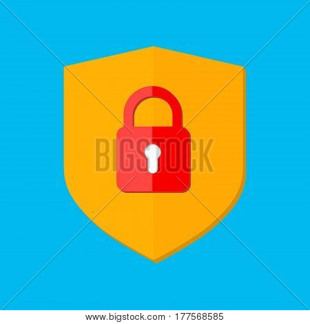 Security icon. Safety sign. Shield, lock, padlock isolated on blue. Data protect. Vector flat illustration isolated on white. Design for web site, mobile app, UI. Colored yellow, red