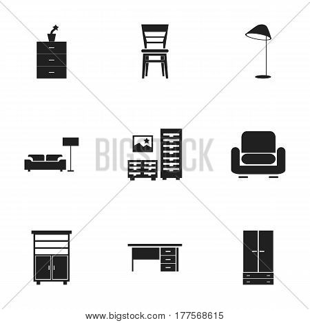 Set Of 9 Editable Furniture Icons. Includes Symbols Such As Lamp, Cabinet, Armhair And More. Can Be Used For Web, Mobile, UI And Infographic Design.