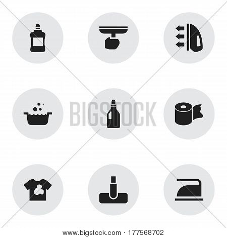 Set Of 9 Editable Hygiene Icons. Includes Symbols Such As Unclean Blouse, Hygienic Roll, Ironing And More. Can Be Used For Web, Mobile, UI And Infographic Design.