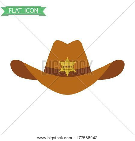 The sheriff's hat. Flat design vector illustration vector.