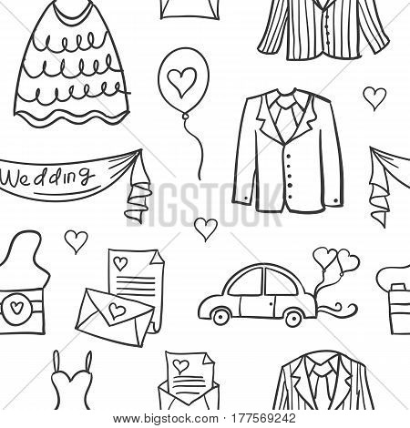 Vetor art of wedding element doodles collection