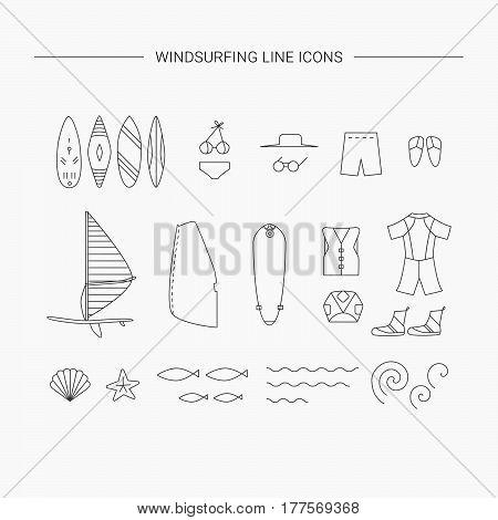 Windsurfing Line Icons.