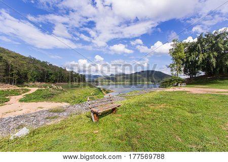 wood chair at Mae Ngad dam in Chiangmai Thailand
