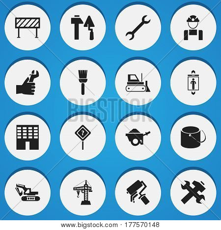 Set Of 16 Editable Construction Icons. Includes Symbols Such As Bulldozer, Pail, Mop And More. Can Be Used For Web, Mobile, UI And Infographic Design.