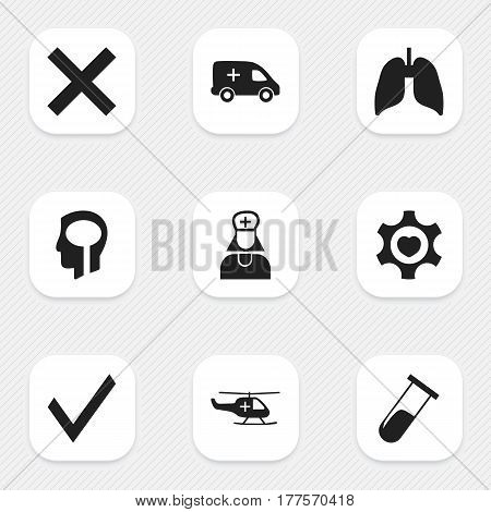 Set Of 9 Editable Health Icons. Includes Symbols Such As Intelligence, Mark, Heart And More. Can Be Used For Web, Mobile, UI And Infographic Design.