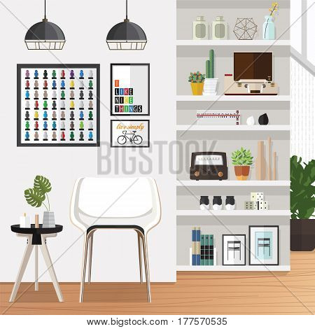 Living room furniture design concept set with modern home interior elements isolated vector illustration