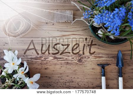 German Text Auszeit Means Downtime. Sunny Spring Flowers Like Grape Hyacinth And Crocus. Gardening Tools Like Rake And Shovel. Hemp Fabric Ribbon. Aged Wooden Background