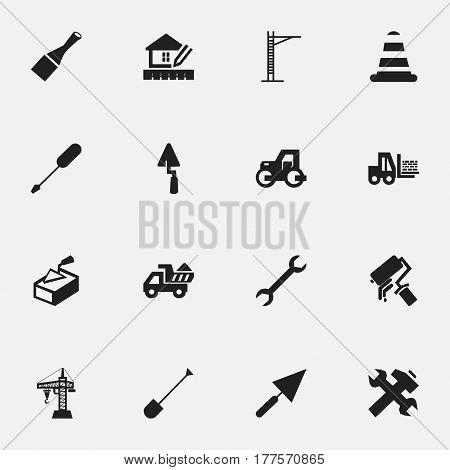Set Of 16 Editable Building Icons. Includes Symbols Such As Spatula, Turn-Screw, Caterpillar And More. Can Be Used For Web, Mobile, UI And Infographic Design.