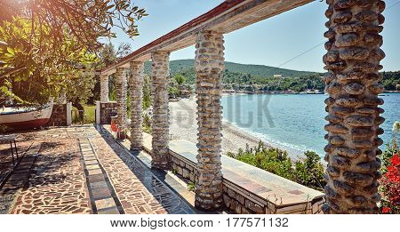 Old thrown cafe authentic beach Zanjic Adriatic Sea Montenegro.