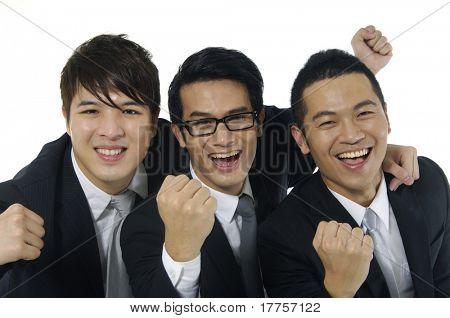 Three ,businessman clenching fists