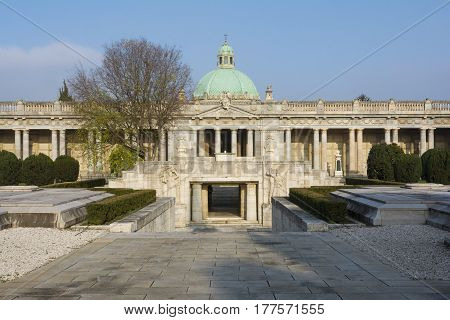 BOLOGNA,ITALY-DECEMBER 7,2016:Inside monumental cemetery of the Certosa di Bologna during a sunny day.