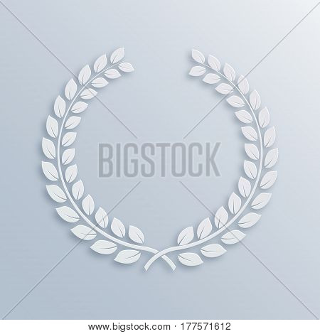 Laurel Wreath. Award for winners. Honoring champions. Trophy for challenge. Symbol of victory and achievements. Vector illustration. White 3D design element for posters decoration. Paper background
