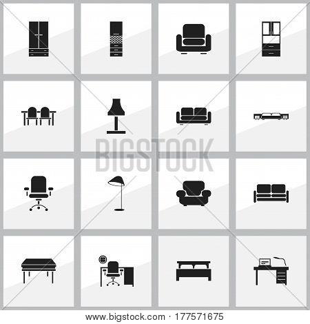 Set Of 16 Editable Home Icons. Includes Symbols Such As Wardrobe, Illuminant, Material Cupboard And More. Can Be Used For Web, Mobile, UI And Infographic Design.