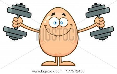 Smiling Egg Cartoon Mascot Character Working Out With Dumbbells. Illustration Isolated On White Background
